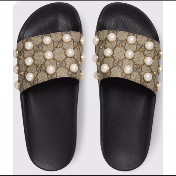 28ad3891a Shoes | Womens Gucci Gg Supreme Slides With Pearls | Poshmark